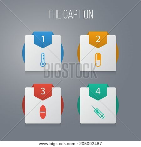 Icon Healthcare Set Of Pill, Antibiotic, Thermometer And Other Vector Objects
