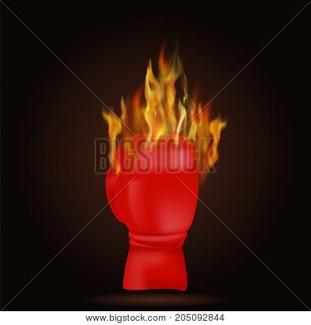 Burning Red Glove with Fire Flame Isolated on Black Background