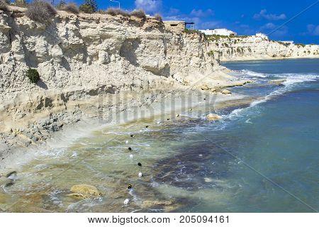 View at Fajtata rocky shore on Malta