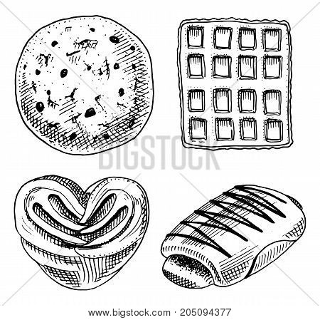 bread and pastry donut, Belgian waffles and sweet bun or croissant and toasts. engraved hand drawn in old sketch and vintage style for label and menu bakery shop. organic food