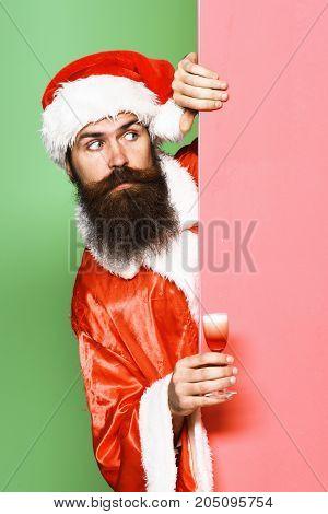 Surprised Bearded Santa Claus Man