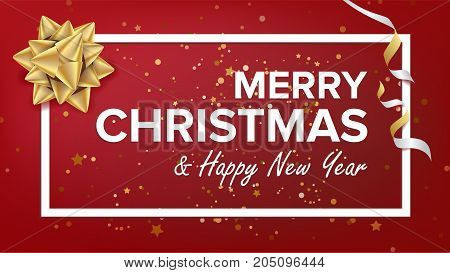 Merry Christmas And Happy New Year Text Vector. Christmas Greeting Card, Poster, Brochure, Flyer Template Design. Party Banner Illustration