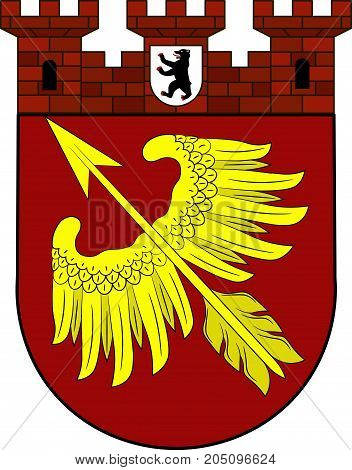 Coat of arms of Wedding is a locality in the borough of Mitte Berlin Germany. Vector illustration from the
