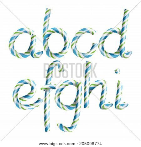Letters A, B, C, D, E, G, G, H, I. Vector. 3D Realistic Candy Cane Alphabet Symbol In Christmas Colour New Year Letter Textured Green, Blue. Typography Striped Craft Isolated. Xmas Art