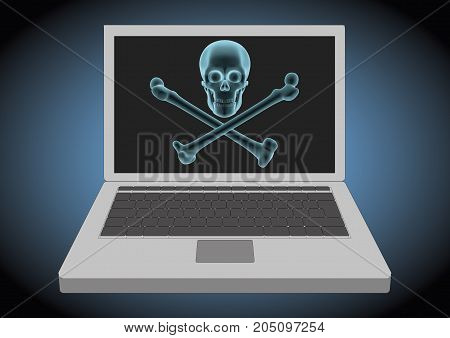 Laptop Computer Hacked Displaying A Skull And Cross Bones