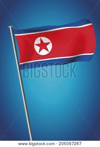 North Korea Flag Waving On The Sky Vector Democratic People Republic Of Korea Vertical