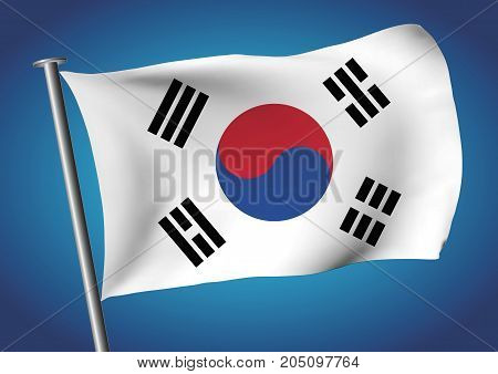 South Korea Flag Waving On The Sky Vector