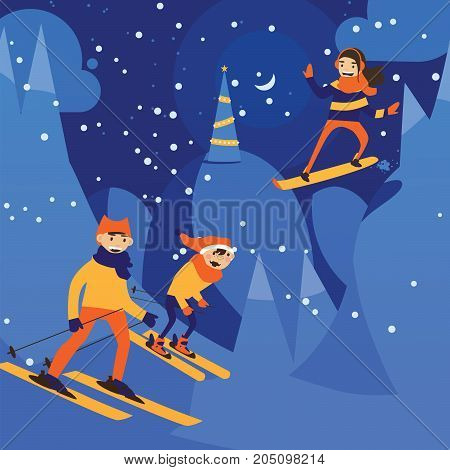 Vector illustration with night scene of christmas night and skiing family. Happy activity on snow hills.