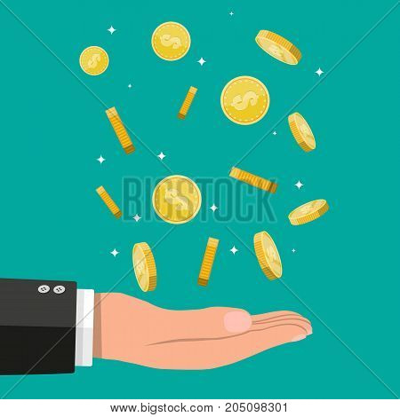 Buisnessman hand catching falling gold coins. Money rain. Golden coins with dollar sign. Growth, income, savings, investment. Vector illustration in flat style