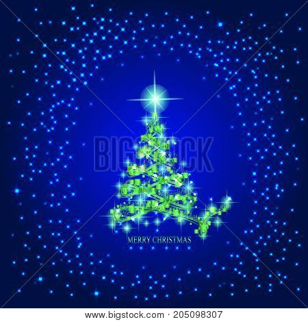 Abstract background with christmas tree and stars. Illustration in blue and green colors.
