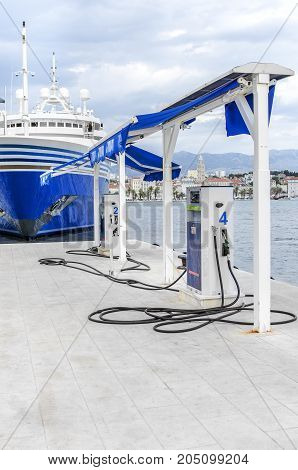 SPLIT, CROATIA - 13 JULY, 2017: Refueling for boats in the port