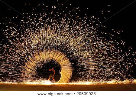 Koh ChangTrad Thailand April 21 2017 beautiful fire circle spining show talent at night party beach island in thailand