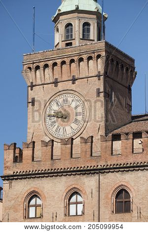 Bologna (Emilia Romagna Italy): facade of historic building in a sunny morning