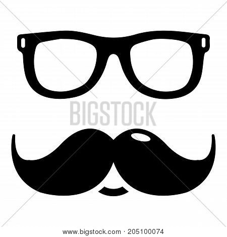 Nerd glasses mustaches icon . Simple illustration of nerd glasses mustaches vector icon for web design isolated on white background