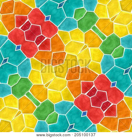 mosaic kaleidoscope seamless pattern texture background - full color spectrum colored with white grout