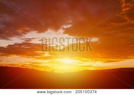 Bright Orange Sky clouds before rain at sunset. cloud on sunset for background.