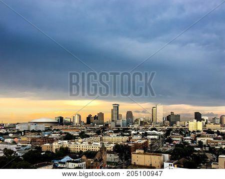 New Orleans, Louisiana Skyline At Sunset