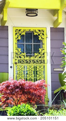 Painted Neon green this wooden screen door beckons the eye to look.