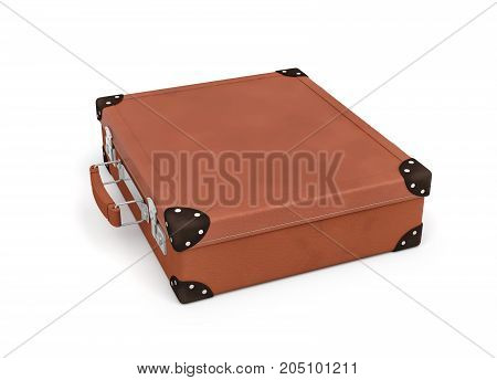 3d rendering of a brown vintage closed suitcase with metal locks on white background. Traveling and adventure. Luggage and cargo. Suitcases and bags.