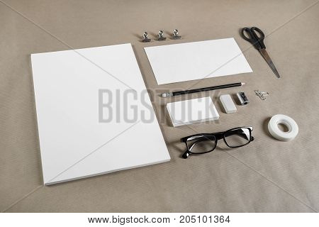Branding template on craft paper background. Blank stationery. Mockup for branding identity for placing your design.