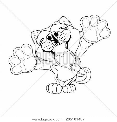 The lovely puppy Akita Inu licks glass standing on hinder legs. A contour line vector illustration separately on white, page coloring book, square.