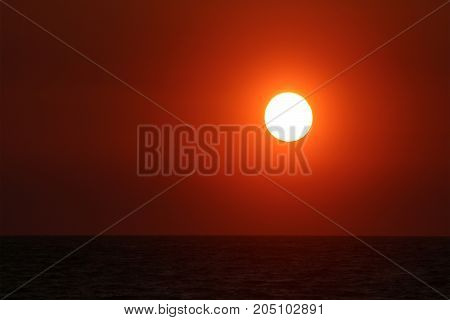 A fiery sunset over the Ionian sea, Greece