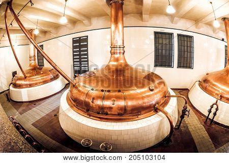 Pilsen (plzen) Czech Republic - May 22 2017: Copper Distillery Tanks In Old Brewery In Pilsner Urque