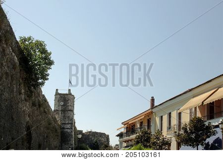 Part from the ancient fortress wall and the clock tower in Ioanina, Greece