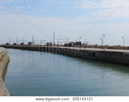 Landscape from the port entrance with the fixed fishing nets with the nets