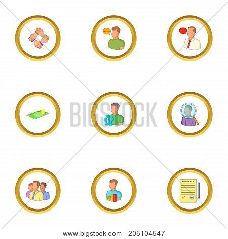 Job contract icons set. Cartoon style set of 9 job contract vector icons for web design