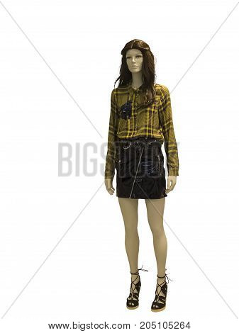 Full-length female mannequin dressed in fashionable clothes isolated on white background. No release required. No brand names or copyright objects.