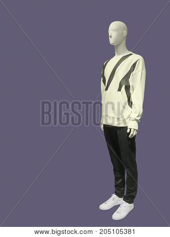Full-length male mannequin dressed in sweater and trousers isolated. No brand names or copyright objects.