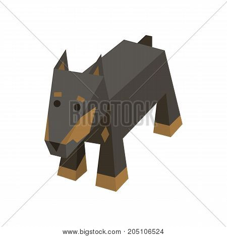 Vector breed isometric dog. Isolated cute isometry animal. Element of geometric Doberman for 3d game. Icon of domestic and home dog, puppy. Vector illustration of Doberman.