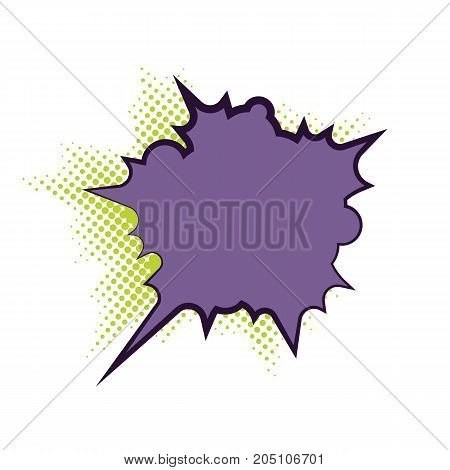 Comics book dialog empty cloud, space cartoon box pop-art. Outline gray picture template memphis style text speech bubble halftone dot background. Creative idea conversation sketch explosion balloon