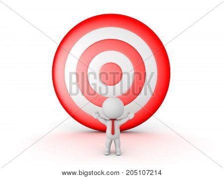 3D Character with a big red target behind him. Isolated on white.