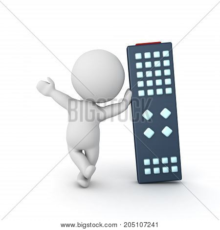 3D Character waving and leaning on giant remote control. Isolated on white.