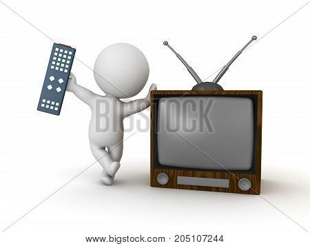 3D Character holding remote control and leaning on retro television. Isolated on white.