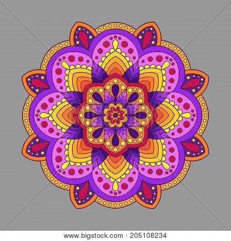 Decorative Element Mandala of Warm Colors. Colored Oriental Circular Pattern.