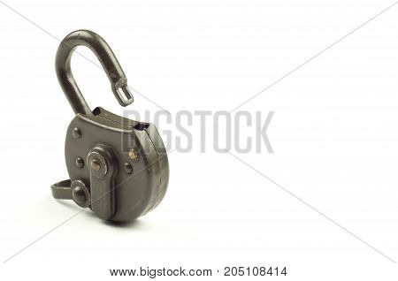 Unlocked padlock on a white background with writing space. Data security concept
