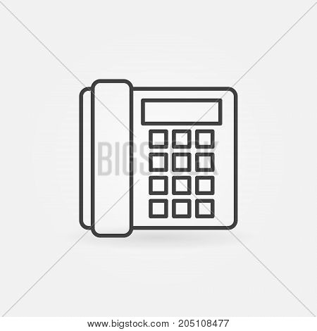Landline phone icon - vector minimal old telephone concept sign in thin line style