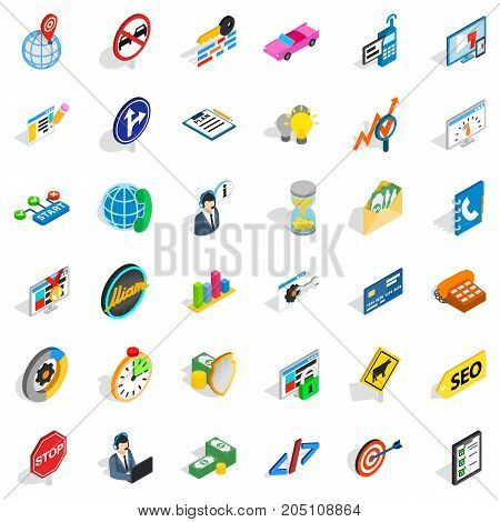Headset icons set. Isometric style of 36 headset vector icons for web isolated on white background