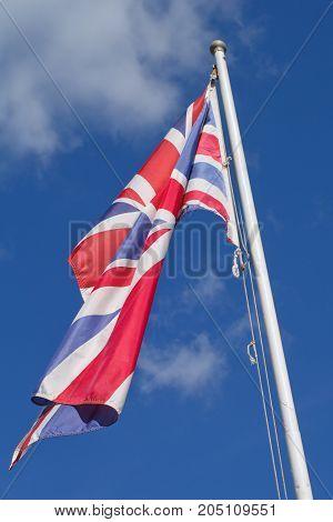 Flag of the United Kingdom or Union Jack and sky