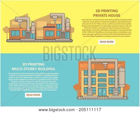 Construction 3D printing vector horizontal banner set. 3d printing private house and multi-storey building flat linear style design elements, web templates.