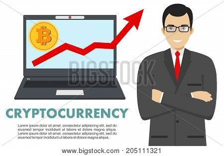 Businessman with computer. Bitcoin sign, digital currency, cryptocurrency, electronic money. Cryptocurrency concept. Bitcoin mining, exchange, mobile banking. Up graph with bitcoin sign, cryptocurrency in flat icon design in laptop.