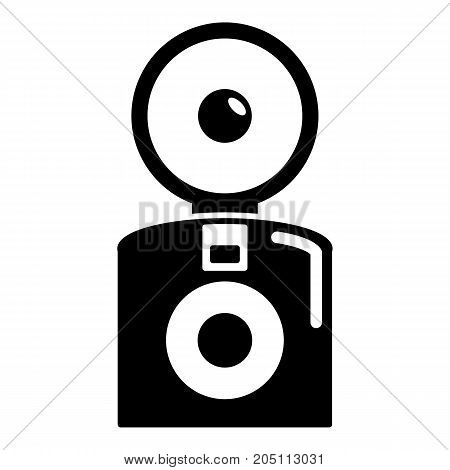 Oldschool camera icon . Simple illustration of oldschool camera vector icon for web design isolated on white background