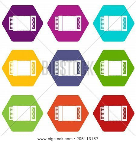 Accordion icon set many color hexahedron isolated on white vector illustration