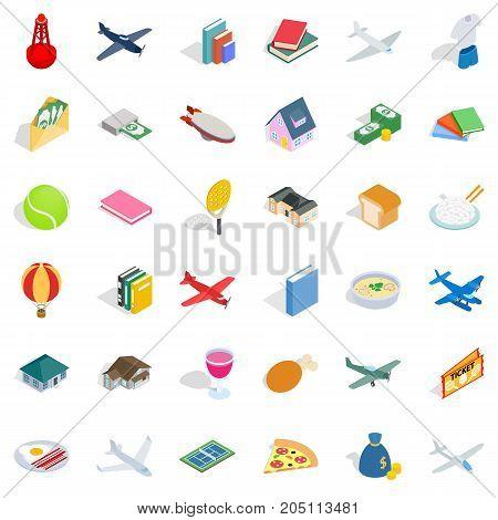 Plenty icons set. Isometric style of 36 plenty vector icons for web isolated on white background