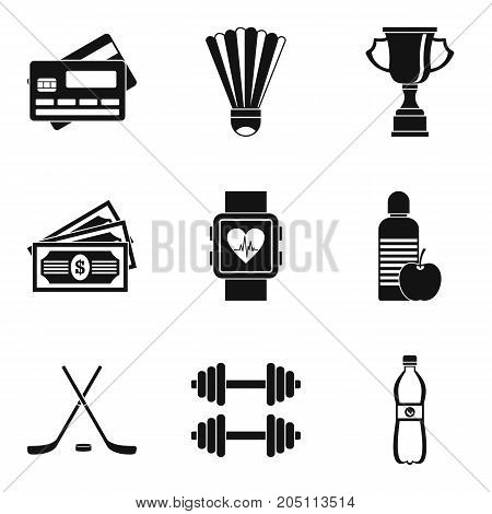 Salary of athlete icons set. Simple set of 9 salary of athlete vector icons for web isolated on white background