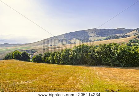 Agricultural land in a hot sunny day located high in the mountains of Lori region of Armenia