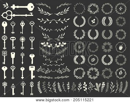 Vector illustration with design illustrations for decoration. Big silhouettes set of keys, wreaths, illustrations, branch on black background. Vintage style.